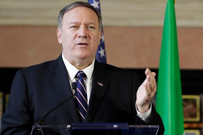U.S. Secretary of State Mike Pompeo meets the media in Rome, Oct. 2, 2019. Pompeo confirmed that he was on the telephone call between President Donald Trump and the Ukrainian president that is the subject of an impeachment inquiry.