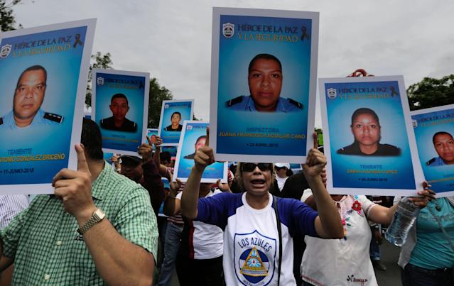 "<p>Supporters of Nicaraguan President Daniel Ortega march demanding justice for the ""Victims of Terrorism"" and jail for those guilty of violent acts during the recent protests, in Managua on July 21, 2018. Aug. 2, 2018. (Photo: Inti Ocon/AFP/Getty Images) </p>"