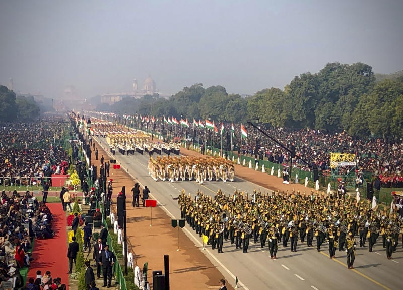 India's Republic Day parade marches through Rajpath, the ceremonial boulevard in New Delhi, India, Sunday, Jan. 26, 2020. Sunday's event marks the anniversary of the country's democratic constitution taking force in 1950. (AP Photo/Manish Swarup)