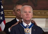 President Barack Obama surprised his vice president Joe Biden with the Presidential Medal of Freedom, the nation's highest civilian honor, in 2017