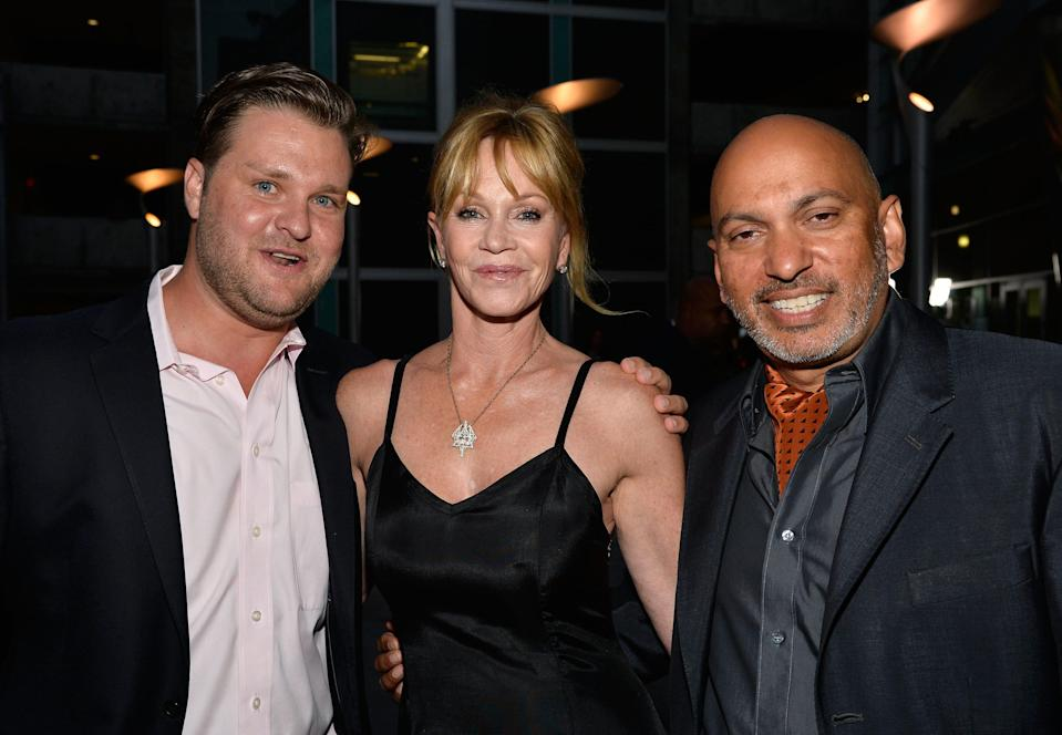 "Zachery Ty Bryan  (left), Melanie Griffith and director Suri Krishnamma arrive at the premiere Of ""Dark Tourist"" at ArcLight Hollywood on Aug. 14, 2013, in Hollywood."