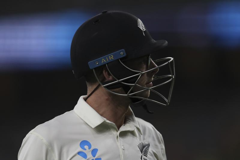 New Zealand's Mitchell Santner leaves the ground after being dismissed during play in their cricket test against Australia in Perth, Australia, Sunday, Dec. 15, 2019. (AP Photo/Trevor Collens)
