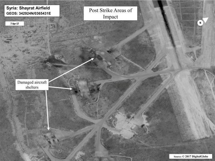 Battle damage at Syria's Shayrat Airfield is seen in this DigitalGlobe satellite image released by the Pentagon. (Photo via Reuters)