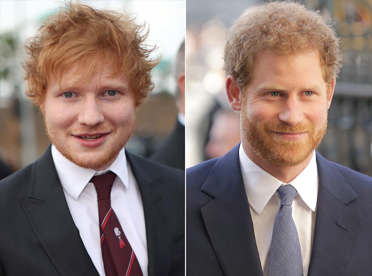 """Prince Harry <a href=""""http://people.com/royals/prince-harry-was-confused-for-ed-sheeran-and-he-had-the-best-response/"""">left a group of schoolgirls giggling</a> after they asked him if he was the real royal — or pop star Sheeran. As he approached the line of about 70 flag-waving pupils on Commonwealth Day in 2017, the prince stopped to speak to 12-year-old Tiya Thornton, who told him that he looked like fellow redhead Sheeran. """"Are you the real Prince Harry?"""" Tiya asked the prince, to which he replied, 'Yes, the other one is Ed Sheeran.' """"  The guys <a href=""""https://www.instagram.com/tv/B3bZfCSJlFd/"""">talked about their common ginger thread</a> in 2019, in a PSA they filmed together for World Mental Health Day."""