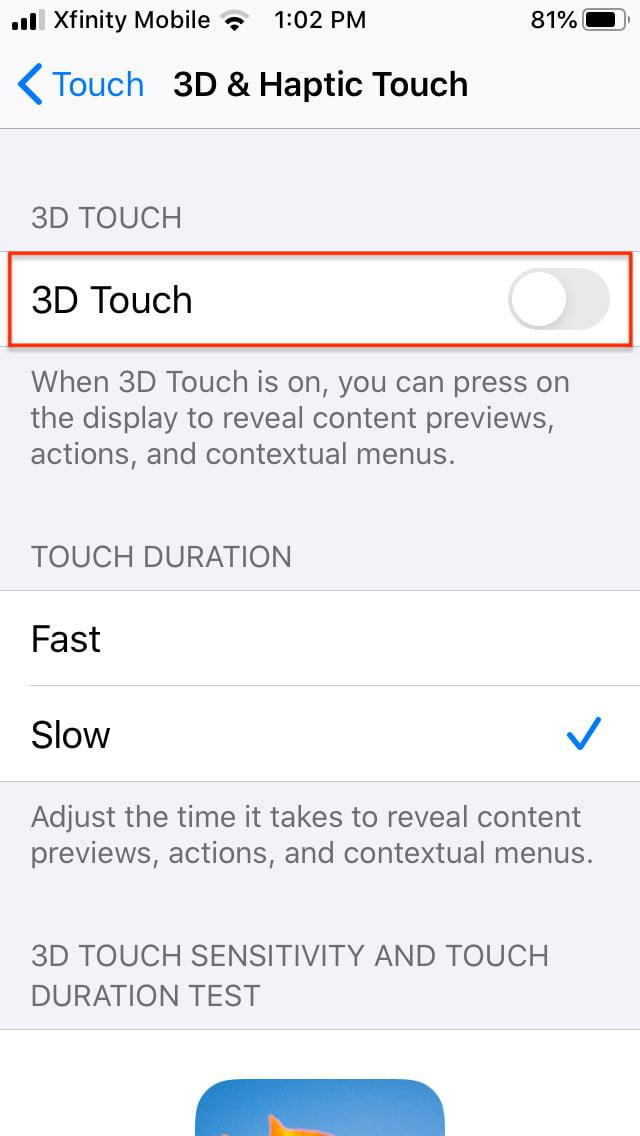 how to disable 3d and haptic touch in ios 13 touch5
