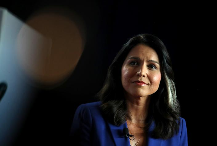Democratic presidential candidate U.S. Rep. Tulsi Gabbard (D-HI) speaks during the AARP and The Des Moines Register Iowa Presidential Candidate Forum on July 17, 2019 in Cedar Rapids, Iowa.   Justin Sullivan—Getty Images