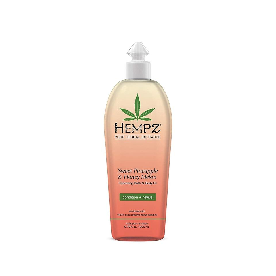 <p>Condition your skin with the tropical scented <span>Hempz Hydrating Bath and Body Oil - Sweet Pineapple &amp; Honey Melon</span> ($14).</p>