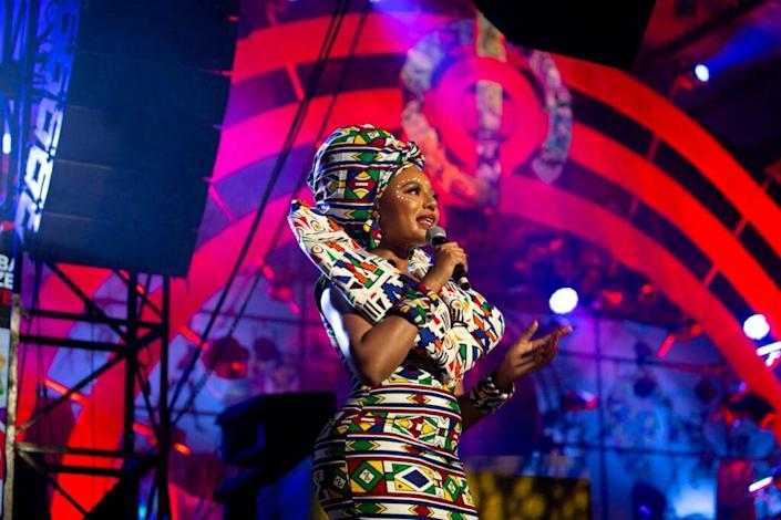 LAGOS, NIGERIA – SEPTEMBER 18: Nancy Isime speaks onstage at Global Citizen Live, Lagos on September 18, 2021 in Lagos, Nigeria. (Photo by Andrew Esiebo/Getty Images for Global Citizen)