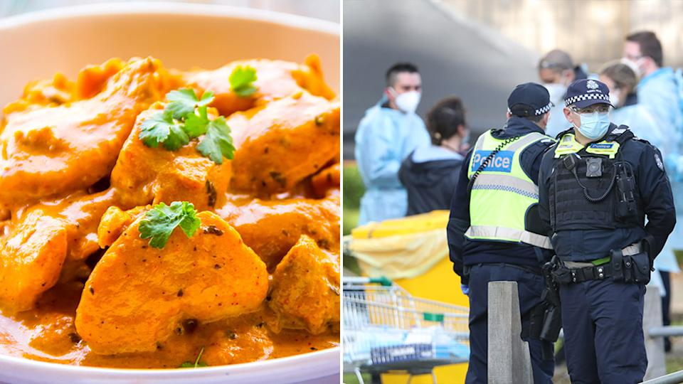 A photo of butter chicken is on the left and police officers wearing face masks are pictured on the right.