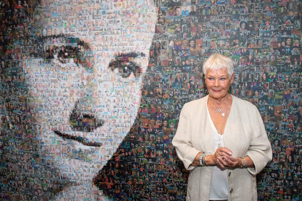 Dame Judi Dench unveils a mural of actress Dame Peggy Ashcroft by artist Helen Marshall, during the reopening of the Ashcroft Playhouse at the Fairfield Halls, Croydon. PA Photo. Picture date: Monday September 16, 2019. See PA story SHOWBIZ Dench. Photo credit should read: Dominic Lipinski/PA Wire (Photo by Dominic Lipinski/PA Images via Getty Images)