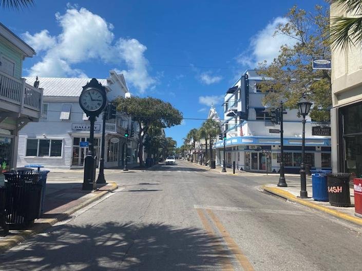 Famous Duval Street in Key West was eerily quiet and empty on Monday, March 23, 2020.