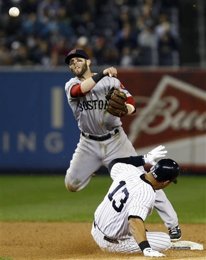 Boston Red Sox second baseman Dustin Pedroia throws to first after forcing out New York Yankees' Alex Rodriguez (13) to complete a double play during the first inning of their baseball game at Yankee Stadium in New York, Tuesday, Oct. 2, 2012. Yankees' Mark Teixeira hit into the play. (AP Photo/Kathy Willens)
