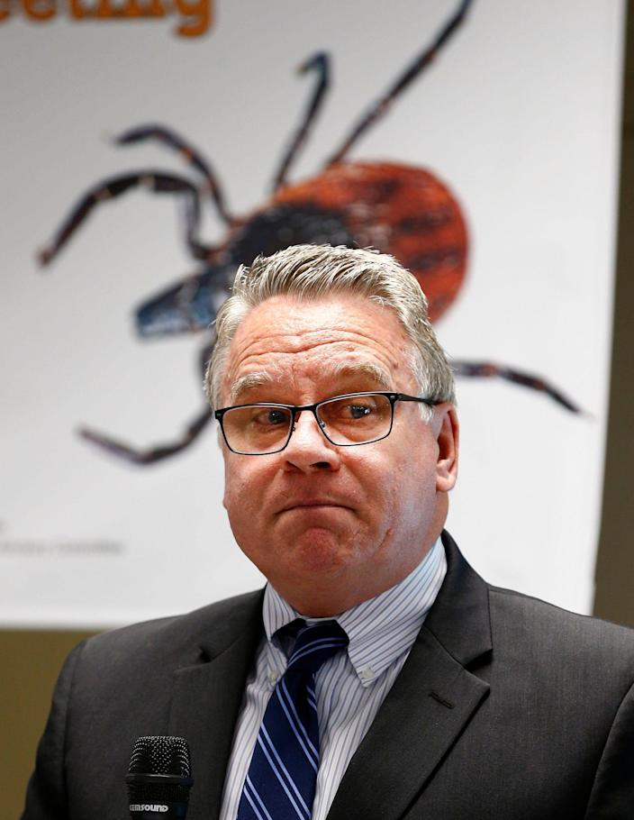 US Congressman Chris Smith (R-NJ) opens a panel discussion about Lyme disease research held at the Wall Township Municipal building Wednesday, May 29, 2019.