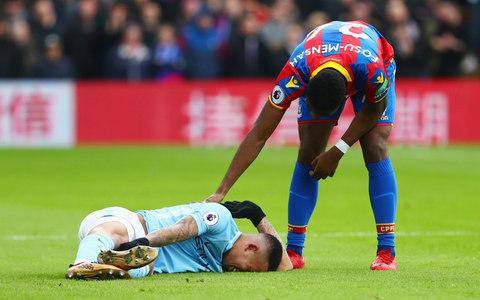 Gabriel Jesus lies injures on the pitch at Selhurst Park - Credit: Getty images