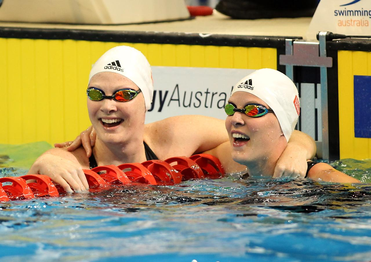 ADELAIDE, AUSTRALIA - MARCH 22: Cate Campbell and Bronte Cambell of Australia celebrate after competing in the Womens 50 Metre Freestyle Final during day eight of the Australian Olympic Swimming Trials at South Australian Aquatic & Leisure Centre on March 22, 2012 in Adelaide, Australia.  (Photo by Morne de Klerk/Getty Images)