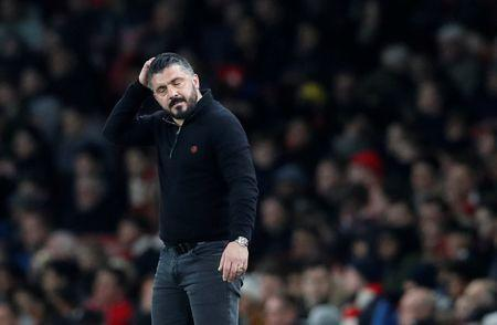 FILE PHOTO: Soccer Football - Europa League Round of 16 Second Leg - Arsenal vs AC Milan - Emirates Stadium, London, Britain - March 15, 2018 AC Milan coach Gennaro Gattuso reacts REUTERS/David Klein/File Photo