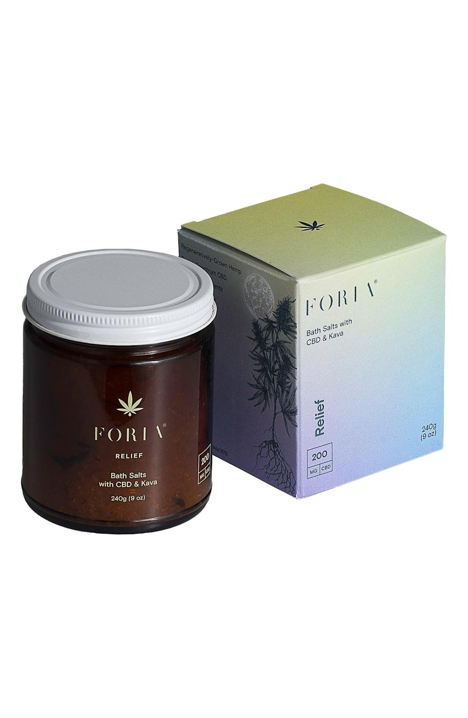 <p>If you have dealt with body pains, give your body the break it needs with the soothing <span>Foria Relief Bath Salts with CBD &amp; Kava</span> ($52).</p>