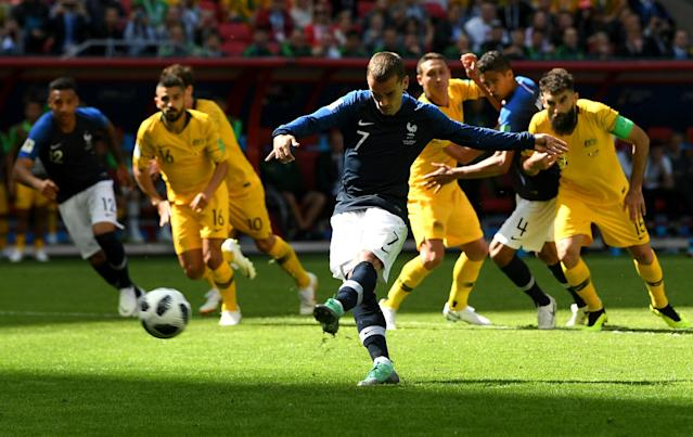 <p>Antoine Griezmann is spot on after the game's big controversial moment saw the French open the scoring </p>
