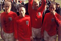 (L-R) Exhausted England players Bobby Charlton, Nobby Stiles, Bobby Moore and Ray Wilson after the game (Photo by PA Images via Getty Images)