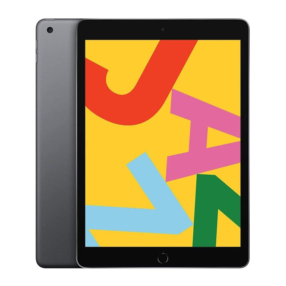 """What's cheaper to gift than an iPhone <em>and</em> has a bigger screen? This iPad. $330, Amazon. <a href=""""https://www.amazon.com/Apple-iPad-10-2-Inch-Wi-Fi-32GB/dp/B07XL7G4H6/ref=sr_1_1_sspa?"""" rel=""""nofollow noopener"""" target=""""_blank"""" data-ylk=""""slk:Get it now!"""" class=""""link rapid-noclick-resp"""">Get it now!</a>"""