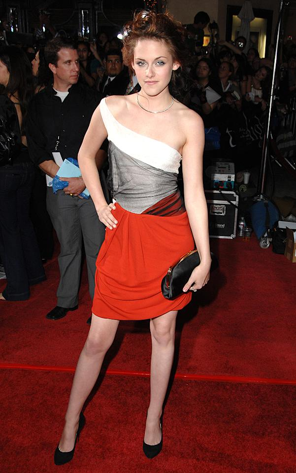 """WESTWOOD, CA - NOVEMBER 17: Kristen Stewart  arrives at the Los Angeles premiere of """"Twilight"""" at the Mann Village and Bruin Theaters on November 17, 2008 in Westwood, California. (Photo by Steve Granitz/WireImage)"""