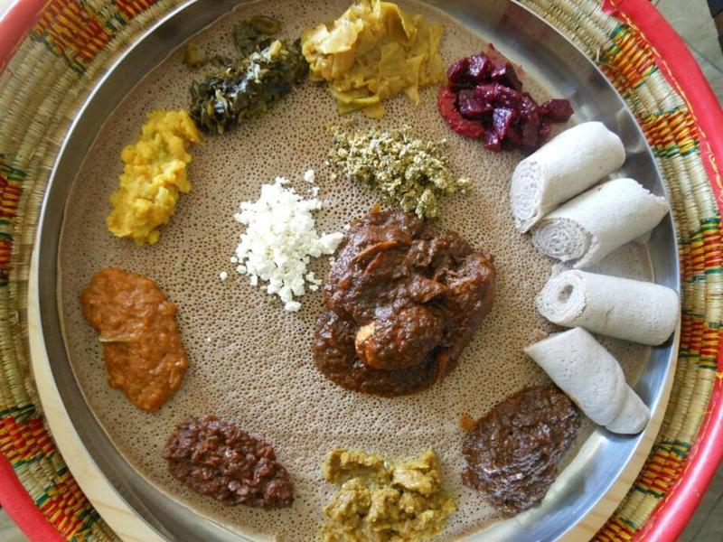 Combination injera platter with wats at Awash Ethiopian Restaurant.