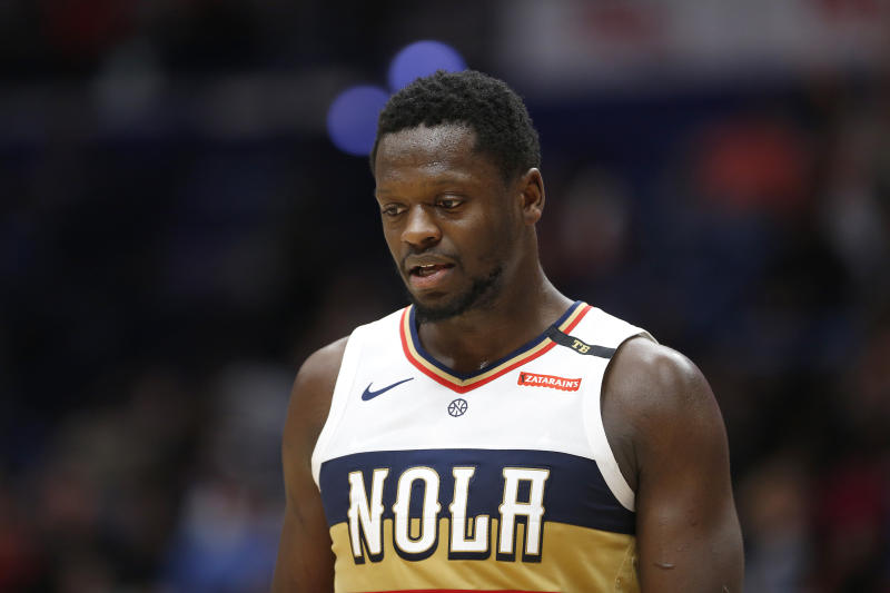 New Orleans Pelicans center Julius Randle (30) during the first half of an NBA basketball game in New Orleans, Saturday, March 16, 2019. (AP Photo/Tyler Kaufman)