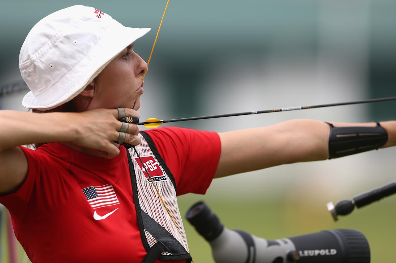 LONDON, ENGLAND - JULY 27:   Jennifer Nichols of the United States competes during the Archery Ranking Round on Olympics Opening Day as part of the London 2012 Olympic Games at the Lord's Cricket Ground on July 27, 2012 in London, England.  (Photo by Paul Gilham/Getty Images)
