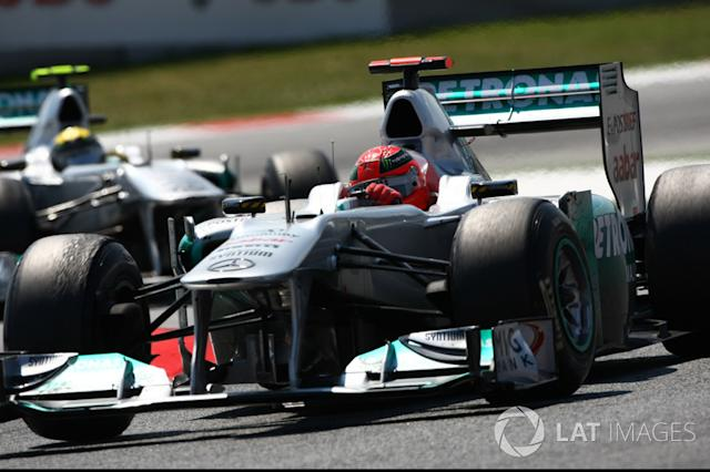 "Michael Schumacher, Mercedes GP W02, precede Nico Rosberg, Mercedes GP W02 <span class=""copyright"">Andrew Hone / Motorsport Images</span>"