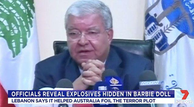 Lebanon's interior minister Nohad Machnouk claims two bombs were hidden in luggage. Source: 7 News