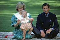 <p>Baby Prince William looked positively precious in a set of pink bloomers and a matching embroidered shirt while posing with his parents Prince Charles and Princess Diana.</p>