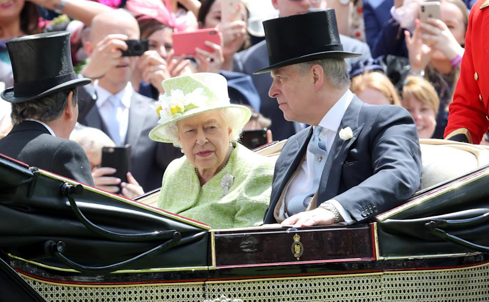 The Queen and Prince Andrew in a royal carriage