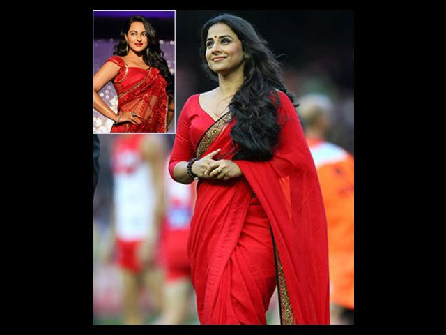"<div class=""heading03"">Red Saree</div> <p><span style=""text-decoration: underline;""><strong>Celeb Example: Vidya Balan</strong></span></p> <p>Known for aping Rekha's style, i.e. wearing sarees and <em>bindis</em>, Vidya makes it to our list of perfect ways of wearing red. She carries off Sabsyasachi (almost all!) sarees with grace. We like her long hair that she lets loose and her broad, golden saree border. She should have done away with the beaded bangle and not worn anything on her wrist. But, overall the red makes for a great picture.</p>"