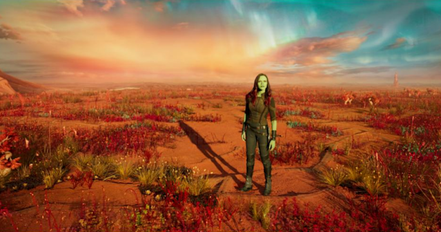 """Gamora (Zoe Saldana) stands on the """"Living Planet"""" in <i>Guardians of the Galaxy Vol. 2.</i> (Photo: Marvel Studios)"""