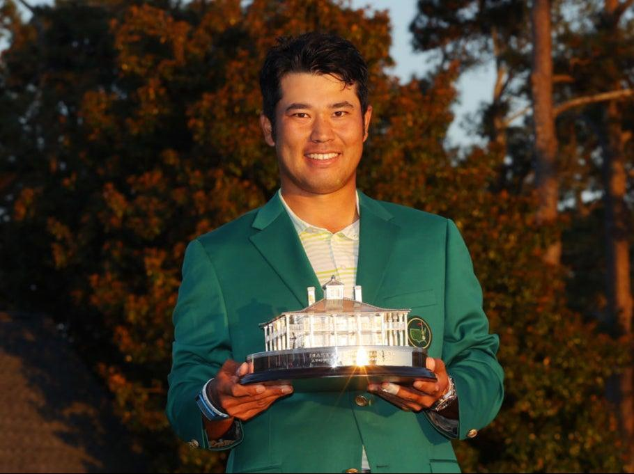 Hideki Matsuyama poses with the trophy (Getty Images)