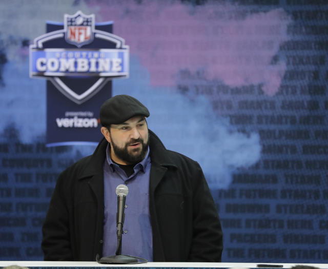 FILE - In this Feb. 27, 2019, file photo, Detroit Lions head coach Matt Patricia speaks during a press conference at the NFL football scouting combine, in Indianapolis. The Detroit Lions look like they need a tight end and a receiver early in the three-day NFL draft after largely ignoring both positions in recent years. (AP Photo/Darron Cummings, File)