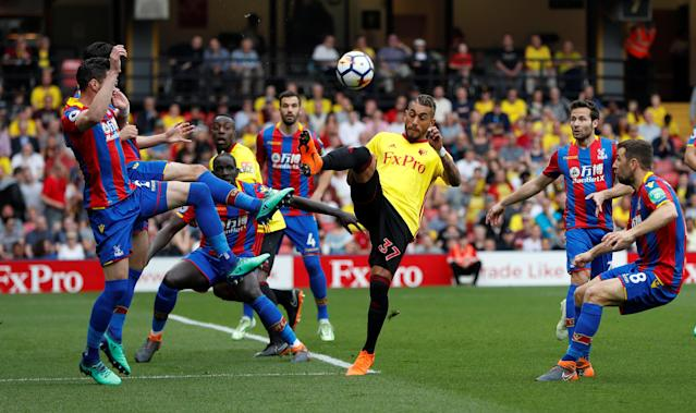 """Soccer Football - Premier League - Watford v Crystal Palace - Vicarage Road, Watford, Britain - April 21, 2018 Watford's Roberto Pereyra in action Action Images via Reuters/Paul Childs EDITORIAL USE ONLY. No use with unauthorized audio, video, data, fixture lists, club/league logos or """"live"""" services. Online in-match use limited to 75 images, no video emulation. No use in betting, games or single club/league/player publications. Please contact your account representative for further details."""