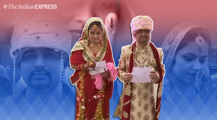 elections 2019, voting, married couple vote, Jammu & Kashmir voting, voter turnout, kashmir voting, elections phases, phase voting, polling booth, viral, indian express, indian express news