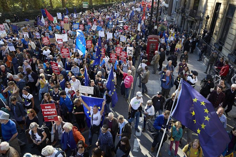 Approximately 700,000 people marched for a People's Vote on Saturday in what is said to be the largest public protest against Brexit so far: Getty Images