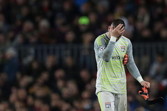 Lyon goalkeeper Anthony Lopes was forced to leave his side's Champions League game against Barcelona with a concussion. (Getty)