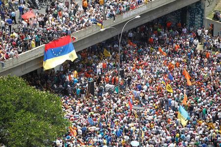 General view shows an opposition rally in Caracas