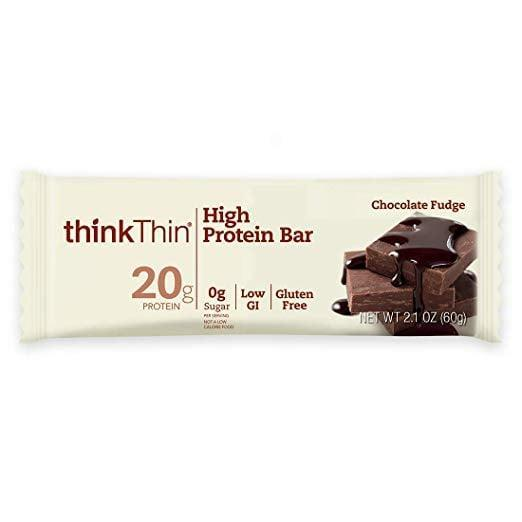 <p>The <span>thinkThin High Protein Bar</span> ($12 for 10) is another great gluten free option, and the chocolate fudge flavor feels particularly decadent.</p>