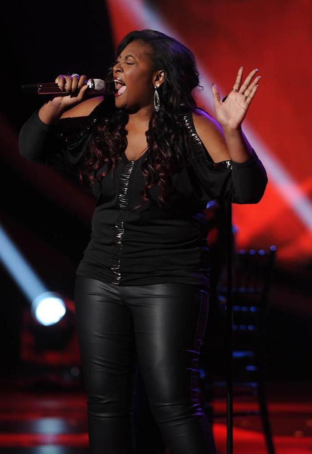 "Candice Glover performs Ben E. King's ""I (Who Have Nothing)"" on the Wednesday, March 13 episode of ""American Idol."""