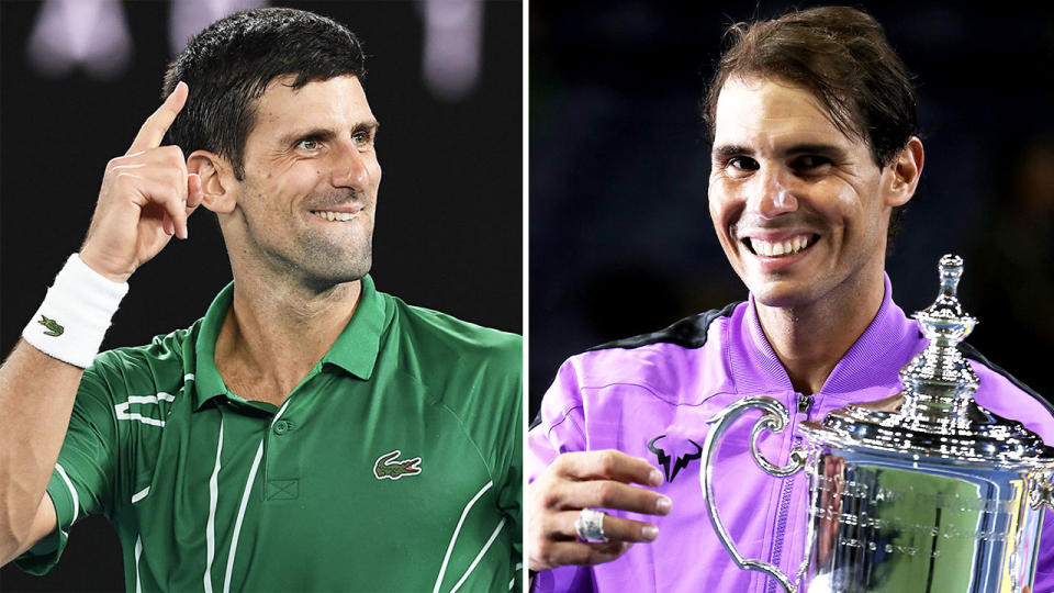 Novak Djokovic (pictured left) pointing and celebrating after a point and Rafa Nadal (pictured right) smiling and holding a trophy.