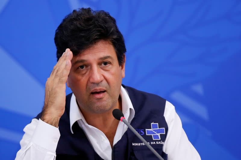 Brazil's Minister of Health Luiz Henrique Mandetta gestures during a news conference, amid the coronavirus disease (COVID-19) outbreak in Brasilia