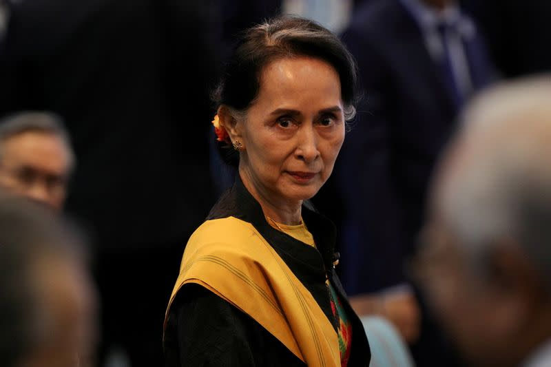 FILE PHOTO: Myanmar State Counselor Suu Kyi attends the opening session of the 31st ASEAN Summit in Manila