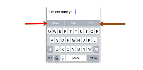 Predictive text in iOS 8 Messages app