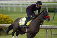 Kentucky Derby entrant Hot Rod Charlie works out at Churchill Downs Wednesday, April 28, 2021, in Louisville, Ky. (AP Photo/Charlie Riedel)