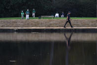 Phil Mickelson walks to the 15th green during the second round of the Masters golf tournament Friday, Nov. 13, 2020, in Augusta, Ga. (AP Photo/Chris Carlson)