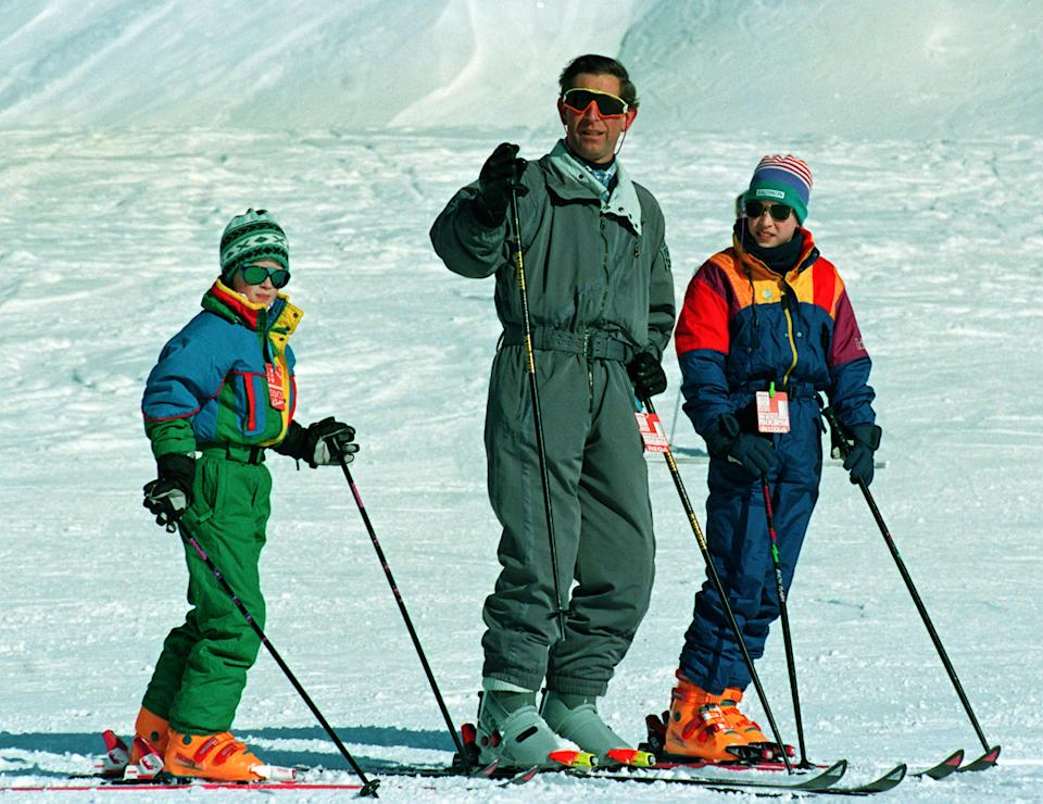 Prince of Wales on the slopes in Klosters, Switzerland, where he is on a skiing holiday with his sons Princes William (r) and Harry.